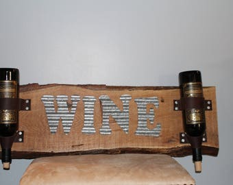 Reclaimed Wood and Leather Wine Rack