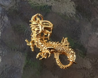 Dragon lobster clasp, (L03G), 1 3/4 x 3/4 inches, gold plated, double sides, Original design and copyrighted! New arrivals!