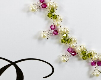 Bridesmaids Necklace, Swarovski Crystal Necklace, White Pearl Necklace, Fuschia, Hot Pink, Emerald