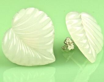 Vintage Milk Glass Leaf Button Post Earrings