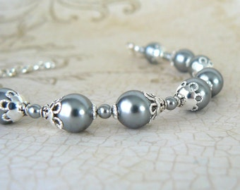 Grey Pearl Bracelet, Vintage Style Grey Swarovski Elements Crystal Pearl, Gray and Silver Vintage Inspired Romantic Jewelry, Gift For Her