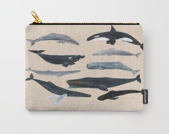 Whale Carry All Pouch, makeup bag, whale pencil pouch, carry all pouch, whales pouch, ocean pouch, ocean carry all, whale pouch, sea pouch