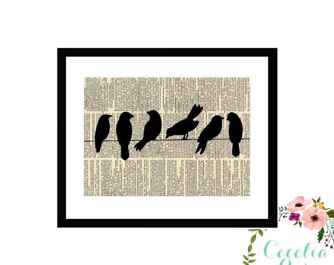 Birds on a Wire Book Art Vintage Book Art Cute Simple Box Frame or PrintFarmhouse Style Farmhouse Style