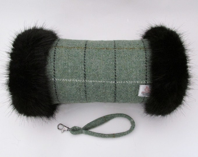 Harris Tweed Sage Green with Overcheck & Black Faux Fur Trim Hand Muff