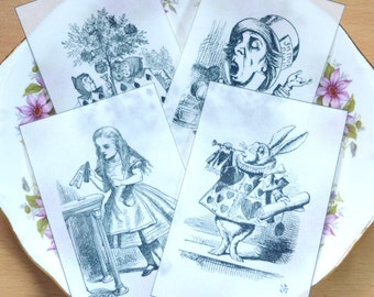 Edible Alice in Wonderland Illustrations Set 1 x 4 Black & White Wafer Paper Images Cake Decoration Wedding Toppers Mad Hatter Tea Party RTD
