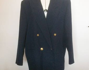 SALE WAS 25 Ladies vintage blazer. Navy double breasted jacket late 70s Miss Smith Original. Label size 16 modern 14 16 Bust 42""