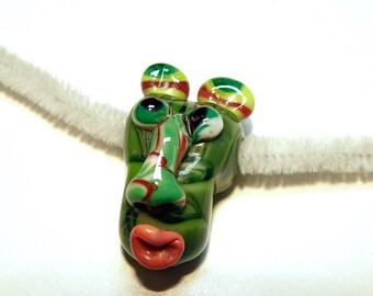 Funky Tribal Head Lampwork Glass Focal Bead --- Lot 3U
