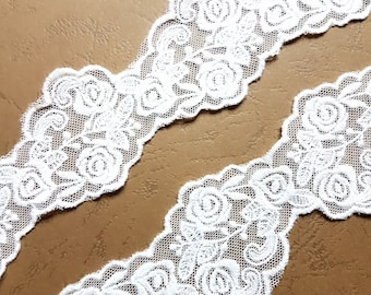 1 m refined white lace embroidered tulle 45mm width