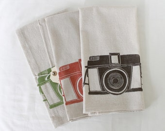 Free US shipping! Vintage Diana Camera Block Printed Flour Sack Towel_Made in Seattle