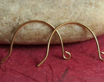 Solid brass earwire size 20x14mm, 20g thick, select your quantity (item ID SHEWRB)