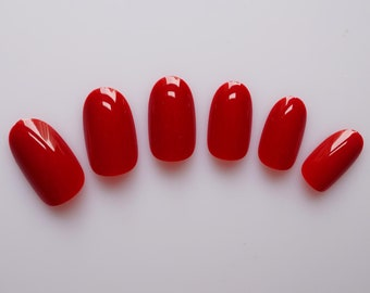 24 False Nails, Color Nails, Oval Nails, High Quality Artificial Nail Tips w/Adhesive Tabs - Red #FREE SHIPPING