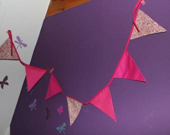 Bunting pink Fuchsia Liberty and small polka dots
