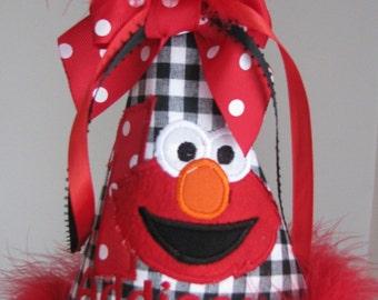 Elmo birthday hat, 1st birthday hat , smash cake hat,  2nd birthday  hat, elmo birthday  party hat, girls party hat