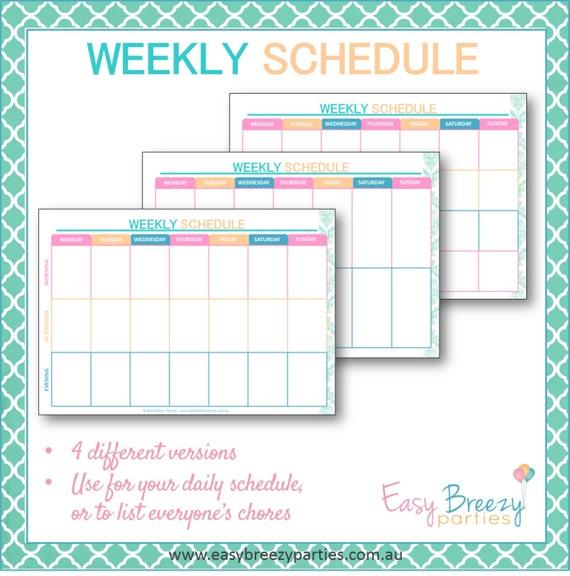 Weekly Schedule Printable Weekly timetable planner Family