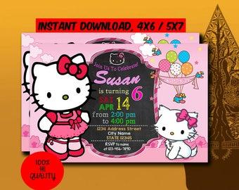 Hello Kitty Invitation,Hello Kitty Birthday,Hello Kitty Birthday Invitation,Hello Kitty Party,Hello Kitty Printable,Digital Download