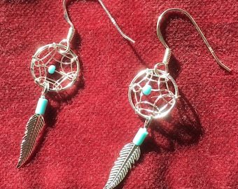 Dreamcatcher Native American Navajo Design Dream Catcher Sterling Silver and Turquoise Earrings. Silver jewellery, boho, festival, feather