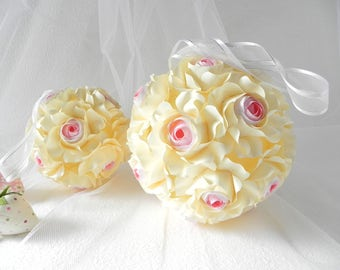 Wedding bouquet, Origami bouquet, Brides bouquet, flower, cream flowers, bridal bouquet, gift, handmade bouquet, rose flower, pink roses
