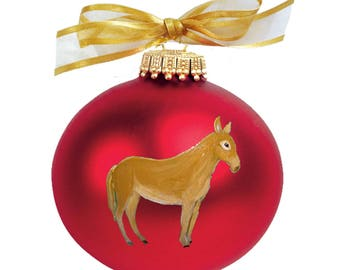 Mule Donkey Hand Painted Christmas Ornament - Can Be Personalized with Name