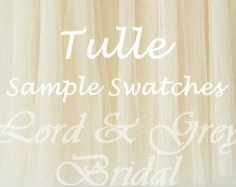 Tulle Samples Swatches, Bridal Veil Sample, Tulle Swatch, Bridal Illusion Tulle Sample, Tulle Swatches, Veil Samples