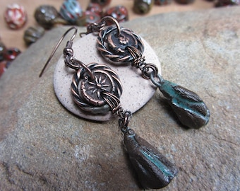Long Earrings Dangle Boho,  Bohemian Earrings, Ancient  Handmade Earrings, Copper Jewelry Handmade Boho Earrings