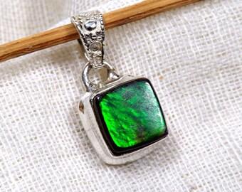 Ammolite Stone, Green Fire Ammolite Pendant, Ammolite Stone, 925 Sterling Silver, Women Pendant, Plain Pendant, Black Friday Sale, Jewellery