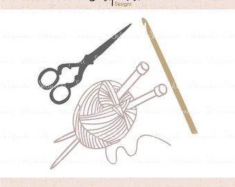 Crafting Tools - SVG and DXF Cut Files - for Cricut, Silhouette, Die Cut Machines // scissors svg// crochet hook svg // knitting svg #253