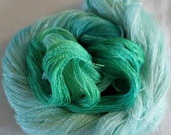 Hand dyed Tencel Yarn - 900 yds. Lace Wt. Tencel Yarn  IRISH