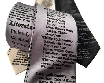 Literary Necktie. Dewey Decimal library classification for Literature. English teacher, librarian, writer, bookworm, author, reading gift.