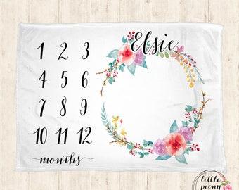 Baby Monthly Milestone Blanket - Floral Receiving Blanket Birthday Gift Photo Prop Monthly Milestone Blanket - 30x40, 50x60, 60x80