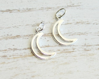 Sterling Silver Crescent Moon Charms...  2 pieces