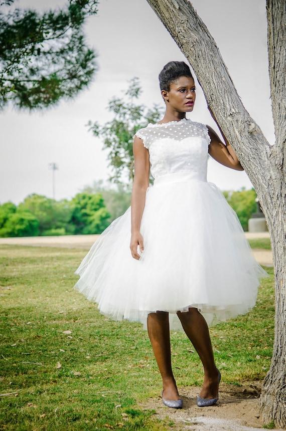 Verkauf Polka Dot Retro Hochzeit Kleid kurze Brautkleid