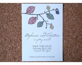 Save the Date with Fall Leaves