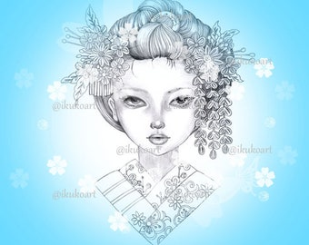 Kanzashi Girl - Grayscale Art Digital Stamp Image Adult Coloring Page Printable Instant Download