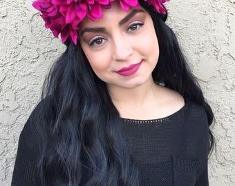 Dahlia Headband - Dark Red Purple Flower Headband - Flower Crown - Festival Rave Hippie Headband - PLUR
