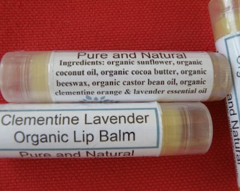 Clementine Lavender Lip Balm - Organic Ingredients  Lip Balm - Citrus Lavender Lip Balm - Moisturizing and Soothing Lip Balm