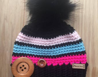 Hat, winter hat with 3 tassels with faux fur
