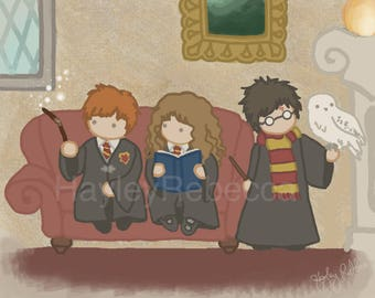 Harry Potter, Hedwig, Ron and Hermione-Art for Nurseries & Children's Rooms-Ask About Commissions
