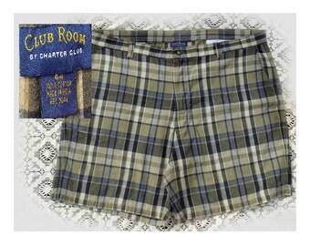 men's Cotton summer Shorts , Men's brown blue plaid shorts -  Men's Bermuda Shorts - size -44 shorts, # 10