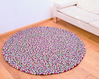 Carpet around felt balls in colored berry tones 160cm and other sizes felt carpet colored balls made of felt