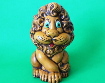 Lion Coin Bank, Atlantic Mold, 1970s, Handpainted
