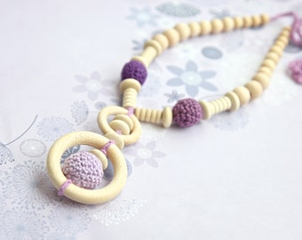 Girls crochet necklace. Organic cotton, lilac gradient nursing necklace with. Mammy and baby teething necklace.