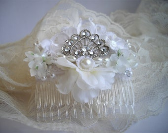 Art Deco Vintage Inspired White Floral Rhinestone Hair Comb For Veil Wedding Or Any Special Occasion Hair Accessory Handmade by handcraftusa