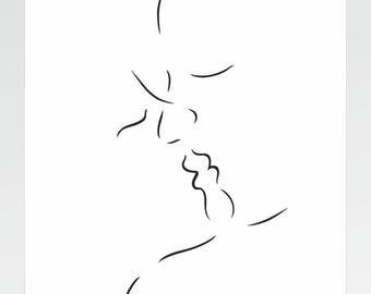 Minimalist kiss art print. Few lines sketch. Lovers drawing. Modern bedroom decor. Kiss illustration.