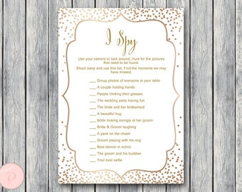Gold I Spy Wedding Scavenger Game, Wedding Game Printable, Wedding Scavenger Printable, Printable Game WD93 TH62