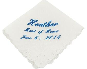 Cursive Custom Maid of Honor Wedding Handkerchief - CH2011