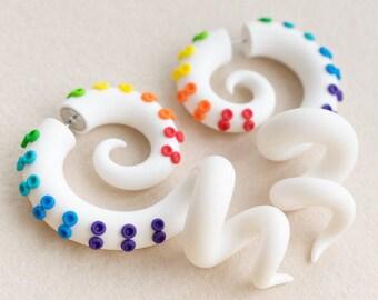 Rainbow Octopus Gauges, White Ear Plugs, Fake Gauge Earrings, Tentacle Gauges, Fake Plugs, Ear Gauges, Faux Plugs