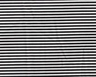 Stripe Basics Timeless Treasures Cotton Fabric C8109 Black, By the Yard