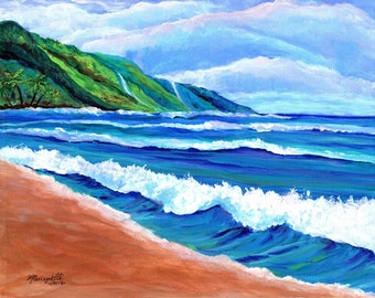 Kauai Beach, Original Kauai Paintings, Hawaiian Beach Paintings, Wall Art Decor, Kauai Hawaii Art, Kee Beach Art, Kauai Beaches