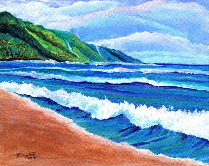 Kauai Beach, Original Kauai Paintings, Hawaiian Beach Paintings, Wall Art Decor, Kauai Hawaii Art, Kee Beach Art, Kauai Beaches
