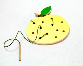 Lacing toy , Learning toy for toddlers , Montessori toys , Wooden toy , Toddler Educational Toy , Grapefruit Lacing Toy , Gift for toddler